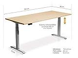 moebel-eins Elektrisch höhenverstellbarer Schreibtisch Office One mit Memory-Steuerung und Softstart/-Stop, Material Tischplatte Dekorspanplatte, 180×80 cm, ahornfarbig, grau - 8