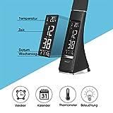 WILIT U2 5W LED Schreibtischlampe, dimmbarer Bildschirm, Tischleuchte mit Wecker, Kalender, Uhrzeit und Temperaturanzeige, Nachttischlampe mit 3 Helligkeitsstufen dimmbar, schwarz - 7