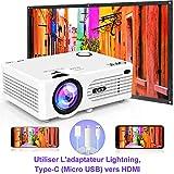 QKK 4500 Lumen Beamer mit Tragetasche unterstützt 1080P Full HD, Mini Video Beamer kompatibel mit TV-Sticks, PS4 Xbox, Wii, HDMI, VGA, SD-Karten, AV- und USB-Geräten, Heimkino-Beamer, weiß, MEHRWEG. - 4