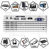 QKK 4500 Lumen Beamer mit Tragetasche unterstützt 1080P Full HD, Mini Video Beamer kompatibel mit TV-Sticks, PS4 Xbox, Wii, HDMI, VGA, SD-Karten, AV- und USB-Geräten, Heimkino-Beamer, weiß, MEHRWEG. - 3