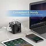 JSVER Steckdosenleiste Würfel USB, Mehrfachsteckdose Cube überspannungsschutz 3 Fach mit 3 USB (15.5W) Steckdosen mit Schalter für Büro, zu Hause oder auf Reisen 1.5m Kabel Schwarz - 3