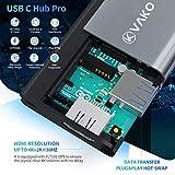 USB C Adapter 4K HDMI Hub 7 Ports mit 3x USB 3.0 Ports, SD / TF Kartenleser, 4K@30Hz HDMI für MacBook Pro / Air, Chromebook und weitere Typ C Geräte, VAKO - 5