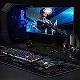 JIALONG Gaming Mauspad XXL Gross 900x400x3mm Schreibtischunterlage Abwischbar Anti Rutsch Matte Multifunktionales Office Mousepad Schwarz Weltkarte - 7