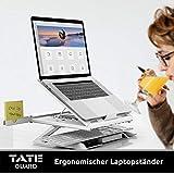 TATE GUARD Laptopständer Erhöhung für den Tisch höhenverstellbar tragbar leicht integrierte Handyständer Notebook Tablet-Halter Schreibtisch Tablett Halterung belüftete, ergonomische Höhe - 5