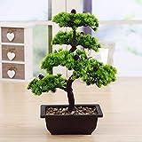 japanische deko Künstliche Bonsai Baum Pflanze für Dekoration Wohnung Schlafzimmer Hochzeit Einschulung Geburtstag, 40cm (Grün), Green - 5