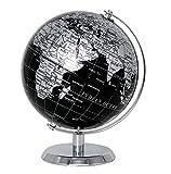 Exerz Metallisch Globus (Durchmesser: 14 cm) - Pädagogisch/Geografisch/Dekoration - Mit einem Metallfuß - in Englischer Sprache (14CM Metallisches Schwarz)