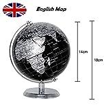 Exerz Metallisch Globus (Durchmesser: 14 cm) - Pädagogisch/Geografisch/Dekoration - Mit einem Metallfuß - in Englischer Sprache (14CM Metallisches Schwarz) - 2