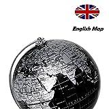 Exerz Metallisch Globus (Durchmesser: 14 cm) - Pädagogisch/Geografisch/Dekoration - Mit einem Metallfuß - in Englischer Sprache (14CM Metallisches Schwarz) - 3