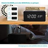 FiBiSonic LED Holz Wecker digital mit Wireless Charger Wecker aus Holz Wecker Design Deko led Uhr Standuhren Klein Vintage Schreibtisch Uhr Schwarz - 4