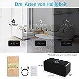 FiBiSonic LED Holz Wecker digital mit Wireless Charger Wecker aus Holz Wecker Design Deko led Uhr Standuhren Klein Vintage Schreibtisch Uhr Schwarz - 6