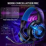 Pacrate PC Gaming Headset für PS4 Xbox One PC, Rauschunterdrückung Over-Ear LED PS4 Headset – Kristall Stereo-Klang Gamer Kopfhörer PS4 mit Sensiblen Mikrofon & Intensiven Bässen für Laptop Mac - 6