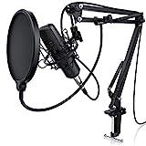 LIAM & DAAN Kondensatormikrofon Mikrofonarm - Studiomikrofon Set - Großmembran Kondensatormikrofon Mikrofonarm und Spinne - Popschutz 2,5m 3,5mm Klinke zu XLR Kabel - neues Modell