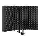 AGPtEK - Mikrofon-Isolationsschutz, geräuschabsorbierender Schaumstoff-Reflektor, faltbar, für Aufnahmegeräte, Studio-Equipment, für Ständer oder Tischplatte, verstellbar und langlebig (groß)