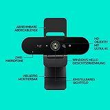 Logitech Brio Stream Webcam, 4K Ultra-HD 1080p, Weites anpassbares Blickfeld, USB-Anschluss, Abdeckblende, Abnehmbarer Clip, Für Skype, Zoom, Xsplit, Youtube, PC – Schwarz, Streaming Edition - 9
