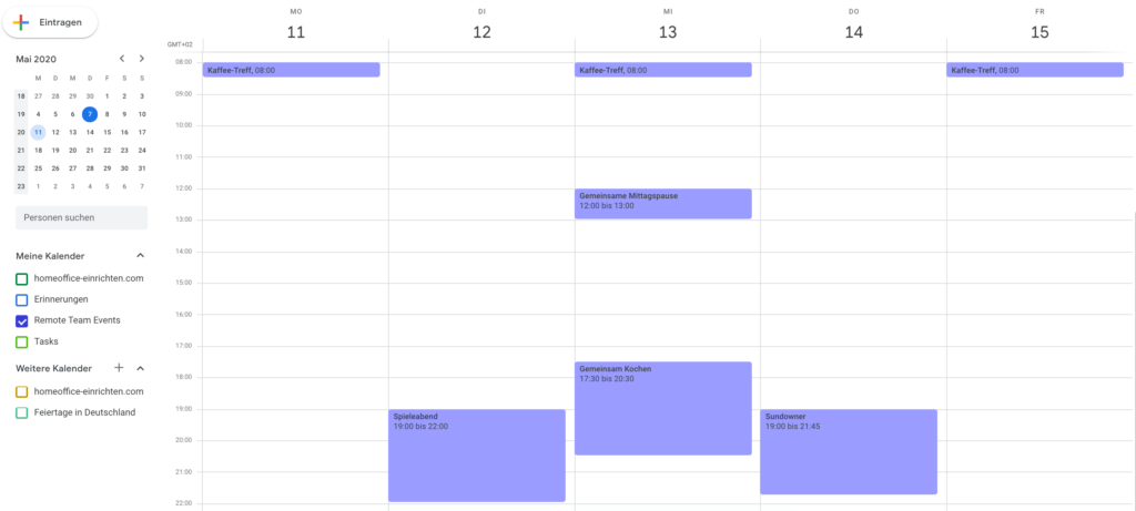 Kalender für Remote Team Events